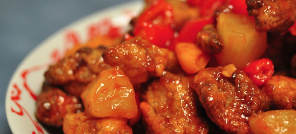 The sweet and sour chicken at China Bistro at the Waterways Shoppes is the finest of its kind in town.