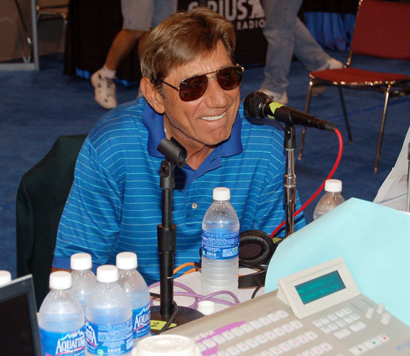 Ex-New York Jets quarterback Joe Namath on Radio Row at the Miami Beach Convention Center for Super Bowl XLI.