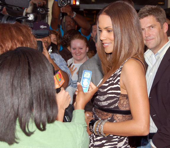 Actress Halle Berry speaks with the local media before the Miami premiere of her new movie Perfect Stranger at Sunset Place in Coral Gables.