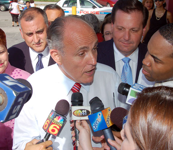 Former federal prosecutor and New York City Mayor Rudy Giuliani campaigning in Little Havana for the 2008 Republican presidential nomination.