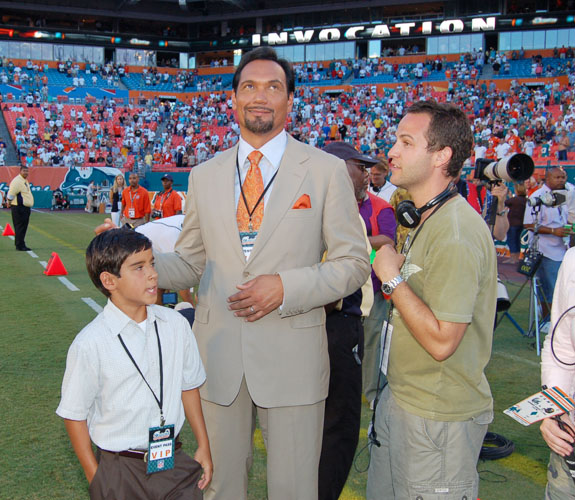 Actor Jimmy Smits on the field before the Miami Dolphins take on the Jacksonville Jaguars in Miami Gardens, Fla.