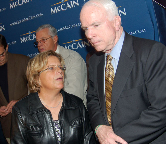 U.S. Representative Ileana Ros-Lehtinen and Sen. John McCain at a Republican campaign rally at Café Versailles in Little Havana.