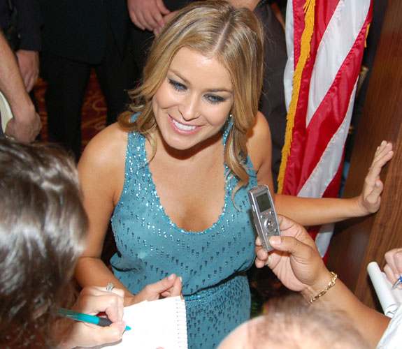 Carmen Electra talks with members of the local media at the party to celebrate the arrival of live blackjack at the Seminole Hard Rock in Hollywood, Fla.